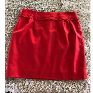 J. Crew Red Wool Blend Skirt Size 6
